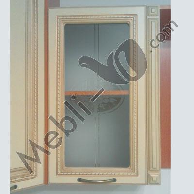 Фасады витрина - МДФ пленочный 16мм Ваниль патинированные под золото с витражем